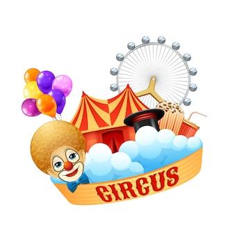 Concetto di circo colorato con pagliaccio palloncini magia cappello arena popcorn ruota panoramica e soda crema