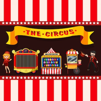 Concetto di circo con bancarelle