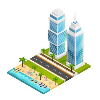 Concetto di città e spiaggia