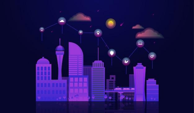 Concetto di città intelligente con paesaggio urbano di notte con elementi icone in cima.