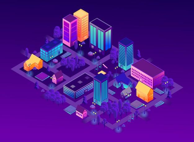 Concetto di città intelligente di stile viola