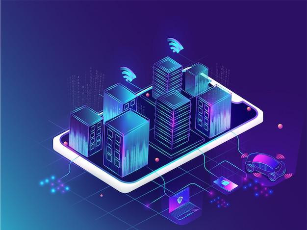 Concetto di città intelligente futuristico.