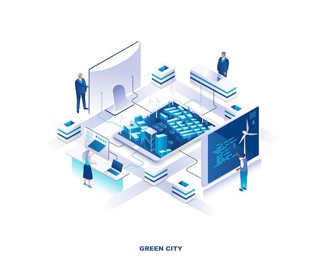 Concetto di città isometrica verde