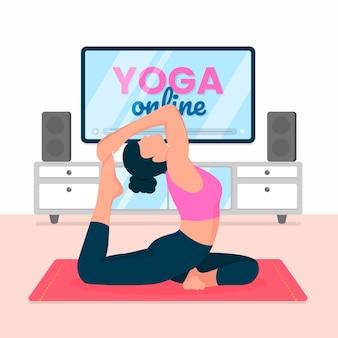 Concetto di classe di yoga online design piatto