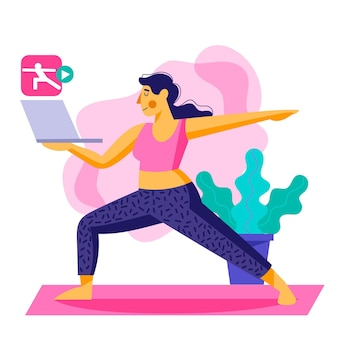 Concetto di classe di yoga online disegnato a mano
