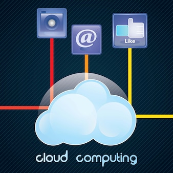 Concetto di cloud computing con icone illustrazione vettoriale