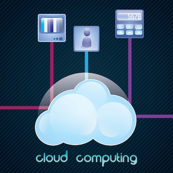 Concetto di cloud computing con icone (tv icona app) illustrazione vettoriale