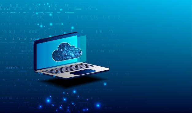 Concetto di cloud computing. connessione laptop su cloud storage per il lavoro di collaborazione con team remoti. lavoro di cooperazione via internet e lavoro con progetto in accesso condiviso.