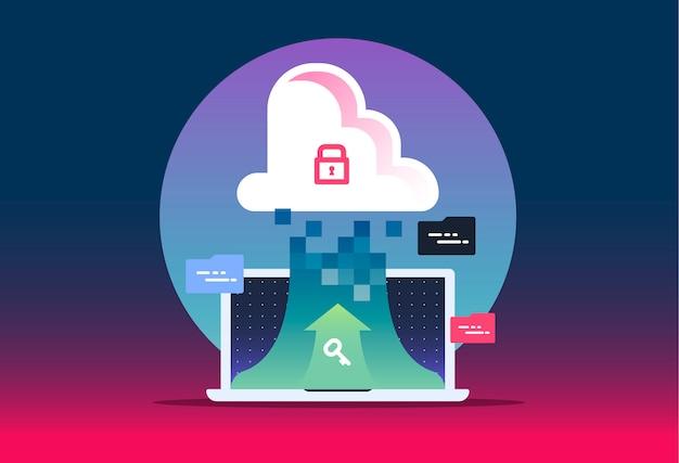 Concetto di cloud computing: connetti i dispositivi al cloud. illustrazione