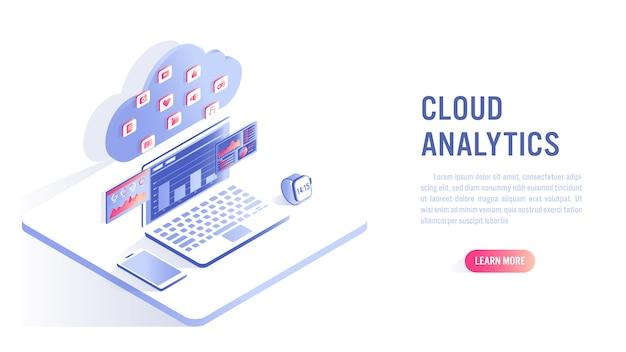 Concetto di cloud computing e analisi dei dati. invito all'azione o modello di banner web
