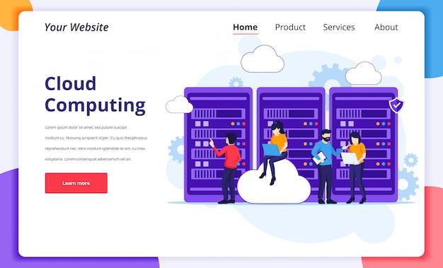 Concetto di cloud computing, persone che lavorano su laptop e server, archiviazione digitale, data center. modello di progettazione della pagina di destinazione