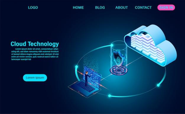 Concetto di cloud computing. tecnologia informatica online. sicurezza in internet con informazioni sul trasferimento dei dati. illustrazione isometrica design piatto.