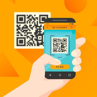Concetto di codice qr di scansione dello smartphone