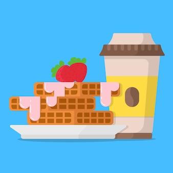 Concetto di colazione cialde con marmellata di fragole e tazza di caffè