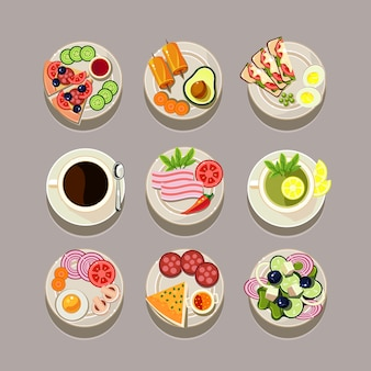 Concetto di colazione con alimenti freschi