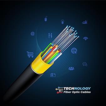 Concetto di collegamento del cavo a fibre ottiche