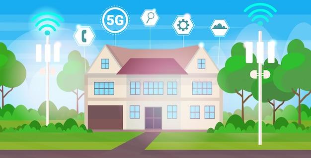 Concetto di collegamento del ricevitore della stazione base dei sistemi senza fili online 5g della casa del cottage