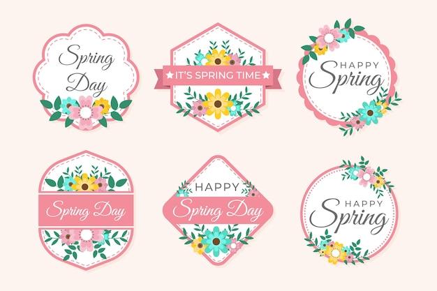 Concetto di collezione di etichette design piatto primavera