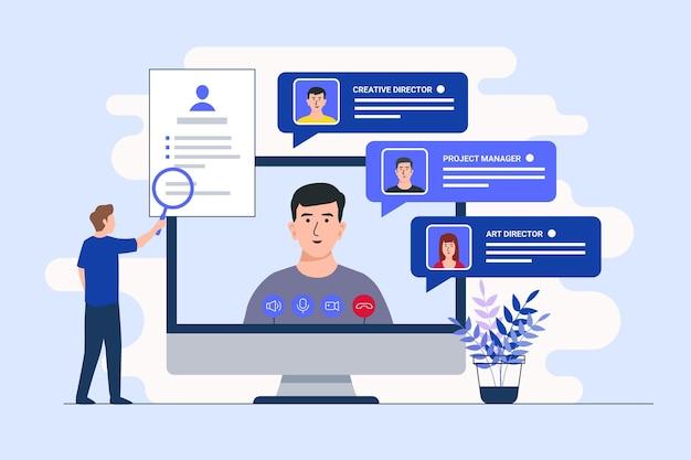 Concetto di colloquio di lavoro online