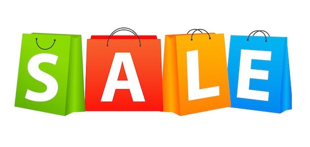 Concetto di colore dei sacchetti di acquisto di vendita. illustrazione vettoriale
