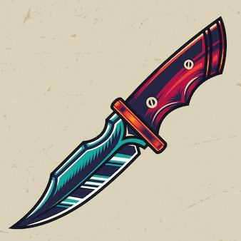 Concetto di coltello militare tagliente colorato