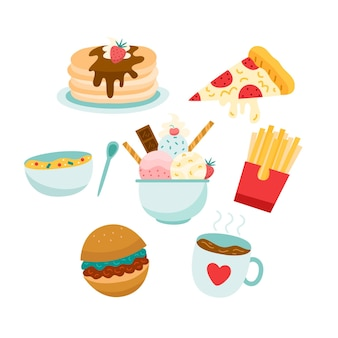 Concetto di comfort alimentare con fast food