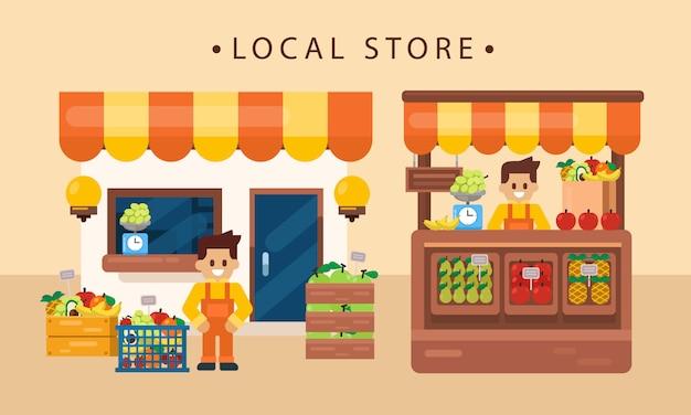 Concetto di commercio al dettaglio, prodotto locale di frutta con negoziante, parte anteriore del negozio. illustrazione vettoriale piatta