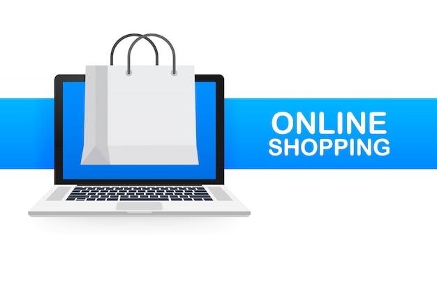 Concetto di commercio elettronico di shopping online con shopping online e icona di marketing.