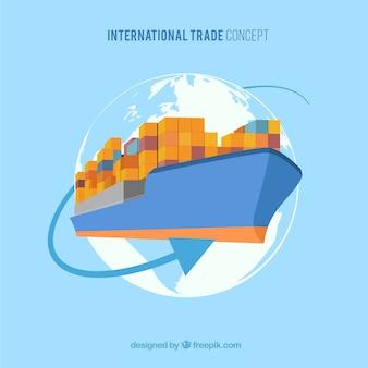 Concetto di commercio internazionale con design piatto