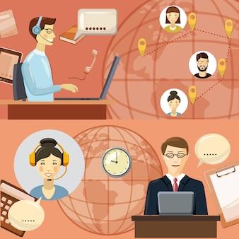 Concetto di comunicazione call center. illustrazione del fumetto del concetto di vettore di comunicazione del centro di chiamata per il web
