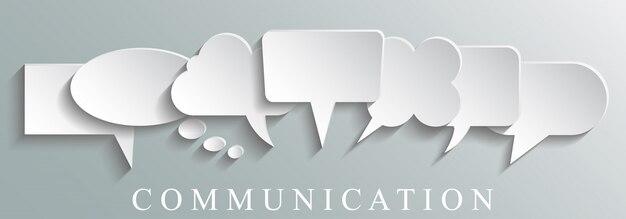 Concetto di comunicazione icone bianche
