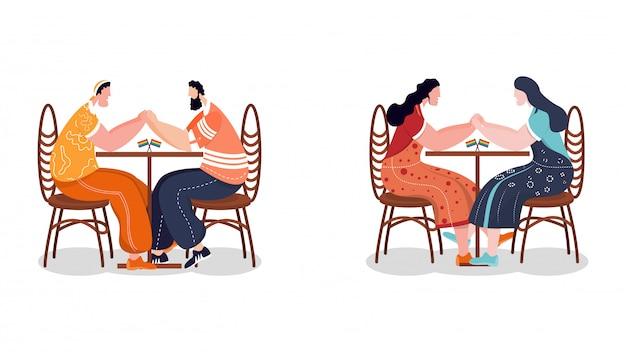Concetto di comunità lgbtq. coppie gay e lesbiche che si siedono insieme