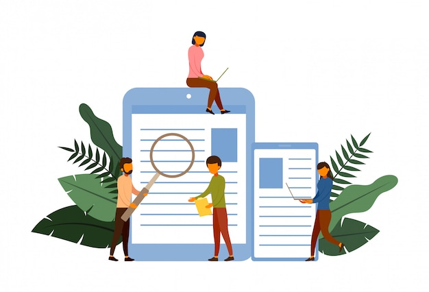 Concetto di concetto di indagine online con illustrazione di carattere