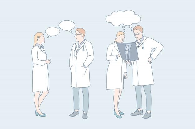 Concetto di concilium di consultazione medica del lavoro di medico