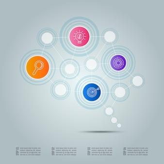 Concetto di connessione aziendale di progettazione infografica in forma di simbolo del cervello con 4 opzioni.