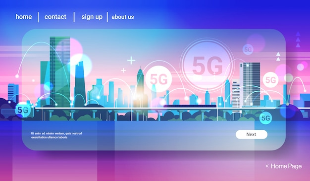 Concetto di connessione di sistemi wireless smart city 5g rete di comunicazione online