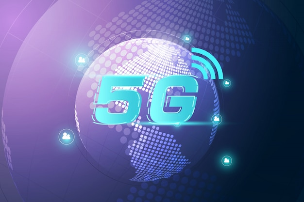 Concetto di connessione wifi internet 5g wireless. tecnologia di dati dell'innovazione ad alta velocità della rete globale, illustrazione di vettore