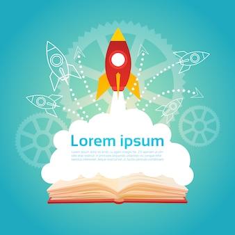 Concetto di conoscenza di istruzione di avvio di affari del razzo di spazio del libro aperto