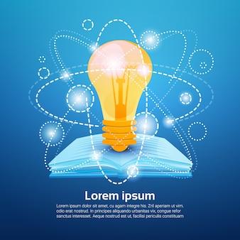 Concetto di conoscenza di istruzione scolastica della lampadina di libro aperto