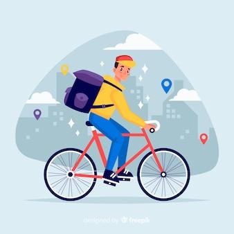 Concetto di consegna bicicletta piatta