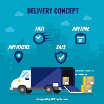 Concetto di consegna con icone e camion