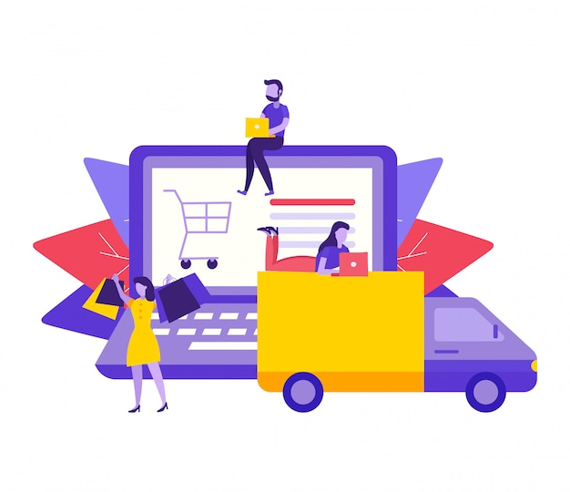 Concetto di consegna del negozio online