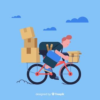 Concetto di consegna della bicicletta con pacchetti