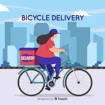 Concetto di consegna della bicicletta in stile piatto