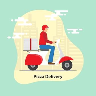 Concetto di consegna della pizza.