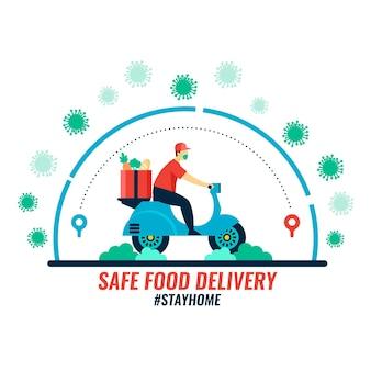 Concetto di consegna di alimenti sicuri