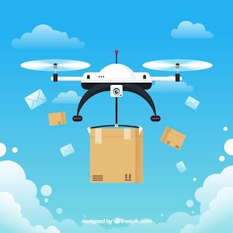 Concetto di consegna di drone con stile divertente