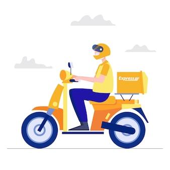 Concetto di consegna. l'uomo in sella a moto offre servizio piatto carattere astratto persone vettore.