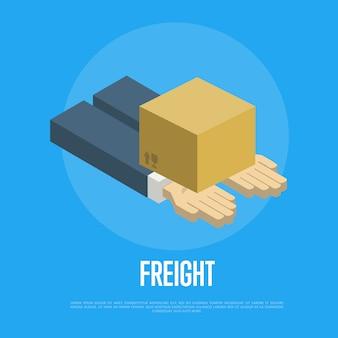 Concetto di consegna merci con mani umane