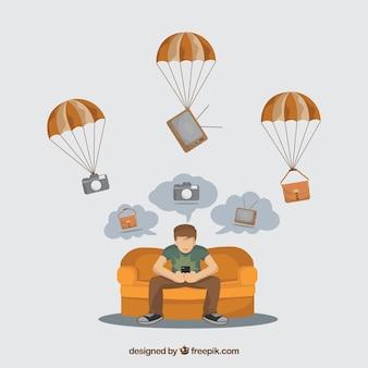Concetto di consegna piana con paracadute